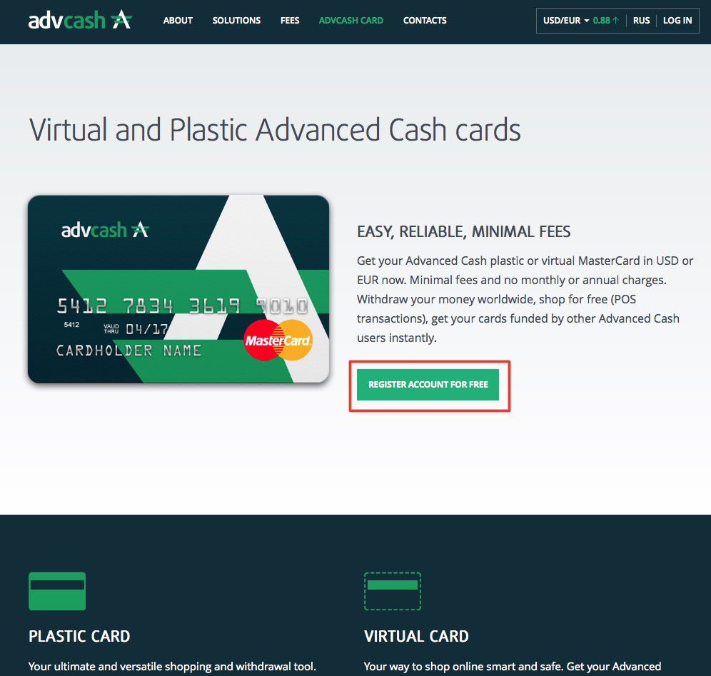 Advcash - webmoney to mastercard- perfect money to mastercard