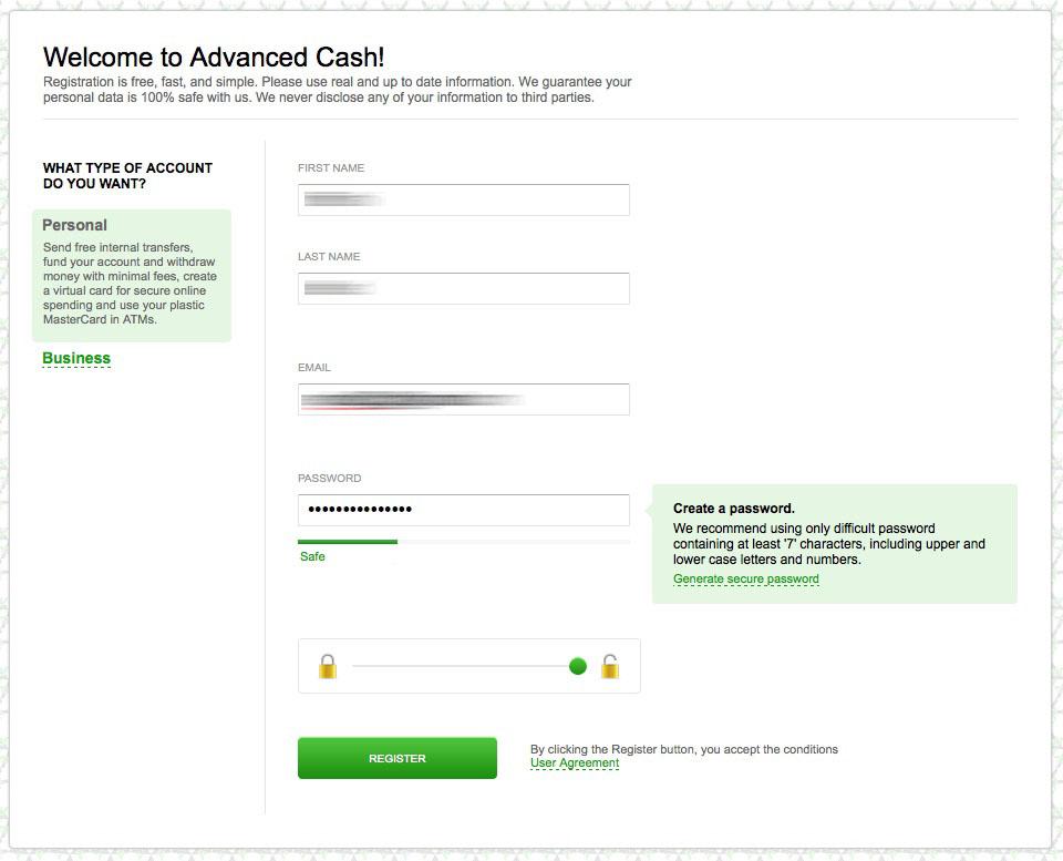 Advcash - register plastic card - Virtual card